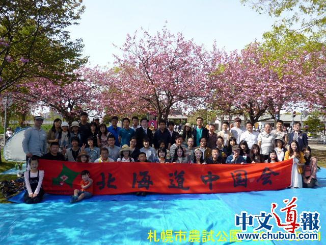 北海道中国会赏樱聚会支援留学生(组图)