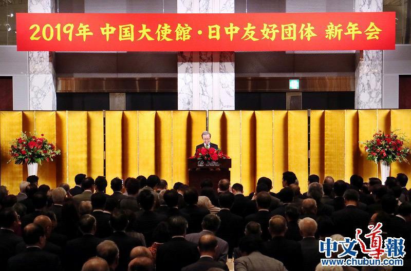 程永华大使举办2019年中国大使馆•日中友好团体新年会